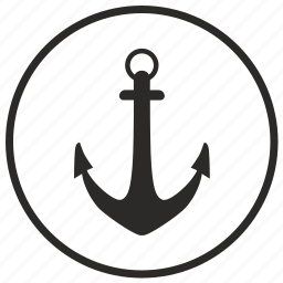 anchor, label, round, sailor, sea icon