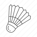 badminton, birdie, cone shape, feathered cork, shuttle, shuttlecock, sports equipment icon