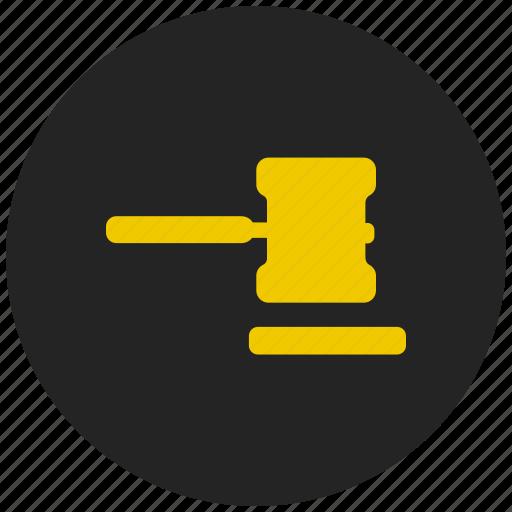 auction, hammer, judge, judgement, justice, legal icon