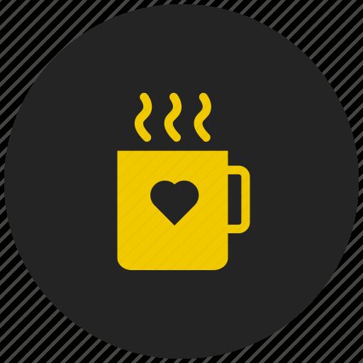 coffee, drink, hot tea, love coffee cup, valentine coffee icon