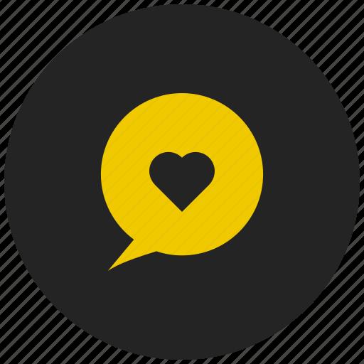 conversation, heart, love chat, love message, message bubble, valentine message icon
