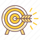 aim, arrow, goal, marketing, target icon