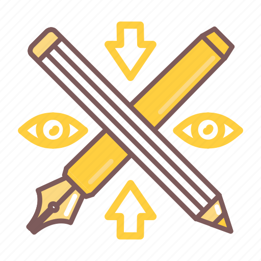 creative, design, eye, graphic, pen, pencil icon