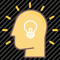 bulb, head, idea, light, mind, think, thought icon