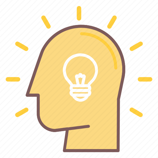 bulb, head, idea, light, mind, think, thought icon