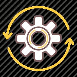 development, gear, preferences, process, settings, work icon