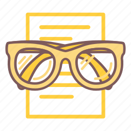 article, document, education, glasses, list, read, reading icon