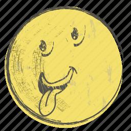 cartoon, emoji, face, paper, smiley, yellow icon