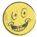 cartoon, emoji, face, paper, smiley, yellow icon