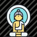 buddha, buddhist, meditate, meditation, yoga icon