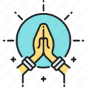 hands, meditate, meditation, namaste, pray icon