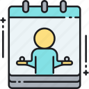 appointment, booking, calendar, event, schedule, yoga, yoga schedule icon