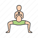 buddhist, pose, position, prayer, relaxation, religion, yoga icon