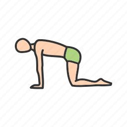body, exercise, pose, sport, table, training, yoga icon