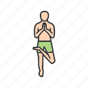 balance, exercise, healthy, left, pose, tree, yoga icon