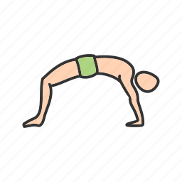 bow, exercise, fitness, healthy, pose, upward, yoga icon
