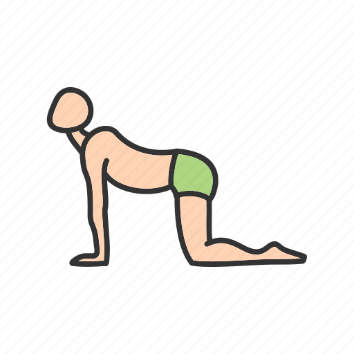 back, body, cow, fitness, healthy, pose, yoga icon