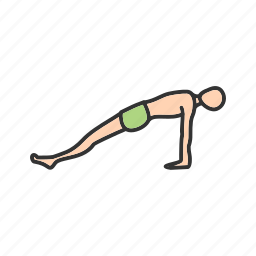 exercise, fitness, plank, pose, training, upward, yoga icon