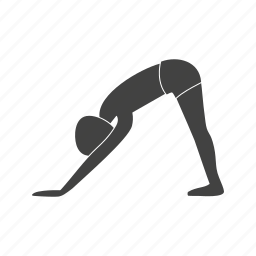 dog, downward, facing, fitness, pose, training, yoga icon