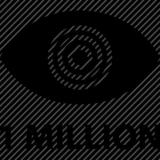 eye, look, million, one, video, views icon