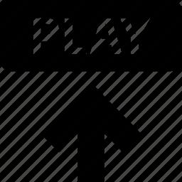 arrow, media, play, up, upload, video icon