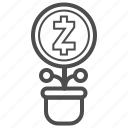 cryptocurrency, currency, earnings, zcash icon