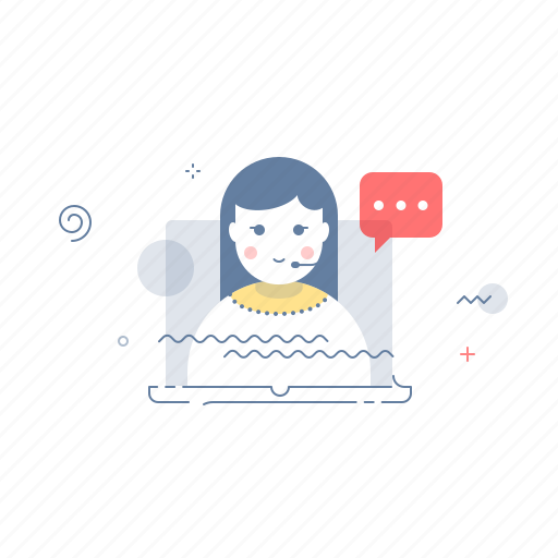 chat, girl, help, support icon