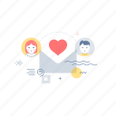 chat, love, lovers, message icon