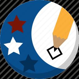 america, ballot, election, pencil, vote, voting icon