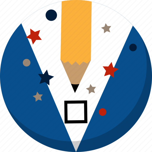 america, ballot, check, election, pencil, vote, voting icon