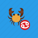 astrology, cancer, crab, horoscope, zodiac icon