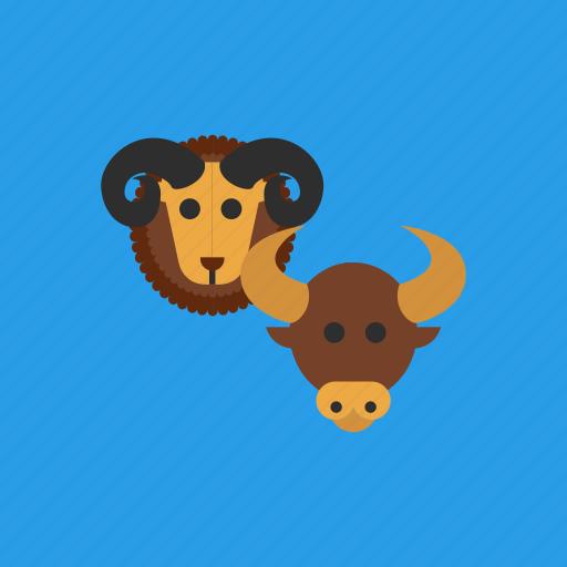 animal, aries, horoscope, taurus, zodiac icon