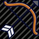 arrow, bow, sagittarius, zodiac icon