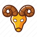 animal, aries, head, sheep, zodiac icon
