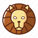 animal, head, leo, lion, wild, zodiac icon