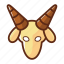 animal, capricorn, horn, zodiac icon