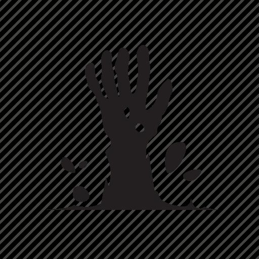 dead man, graveyard, hand, rise, zombie icon