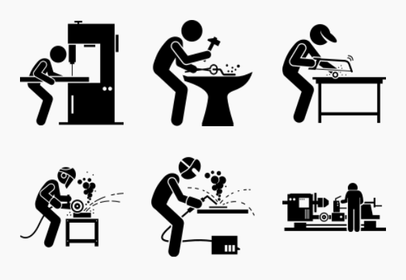 Steelworks and Metalworking Workshop icons by Gan Khoon Lay
