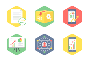 HEXAGON SEO & WEB DEVELOPMENT FLAT ICONS - Part 1