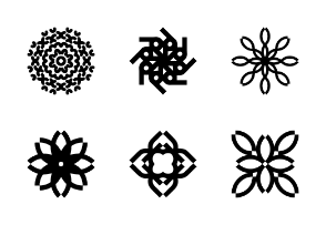 Abstract flower ornament symbol set