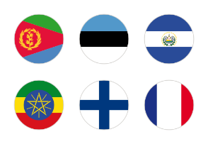 All national flags of the world - very high quality. Rounded flags, circular design.