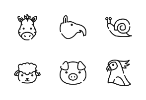 Animal Face With Outline Iconset