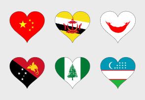 Asia & oceanian Flags heart