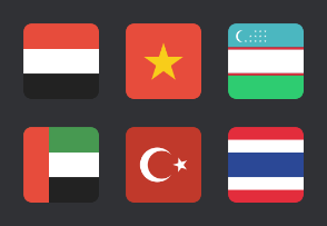Asian rounded sqaure flags