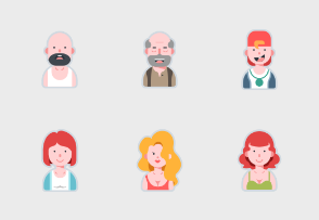 Avatar Flat Design - Big Family