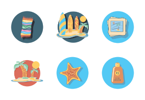 beach icons in circle