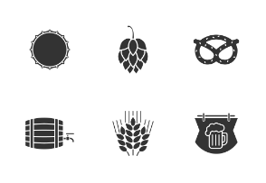 Beer set. Glyph. Silhouettes