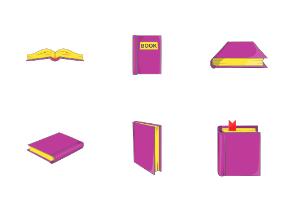Books icons set, cartoon style