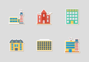 Buildings Flat Sticker vol 2