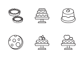 Cakes With Black And White Iconset